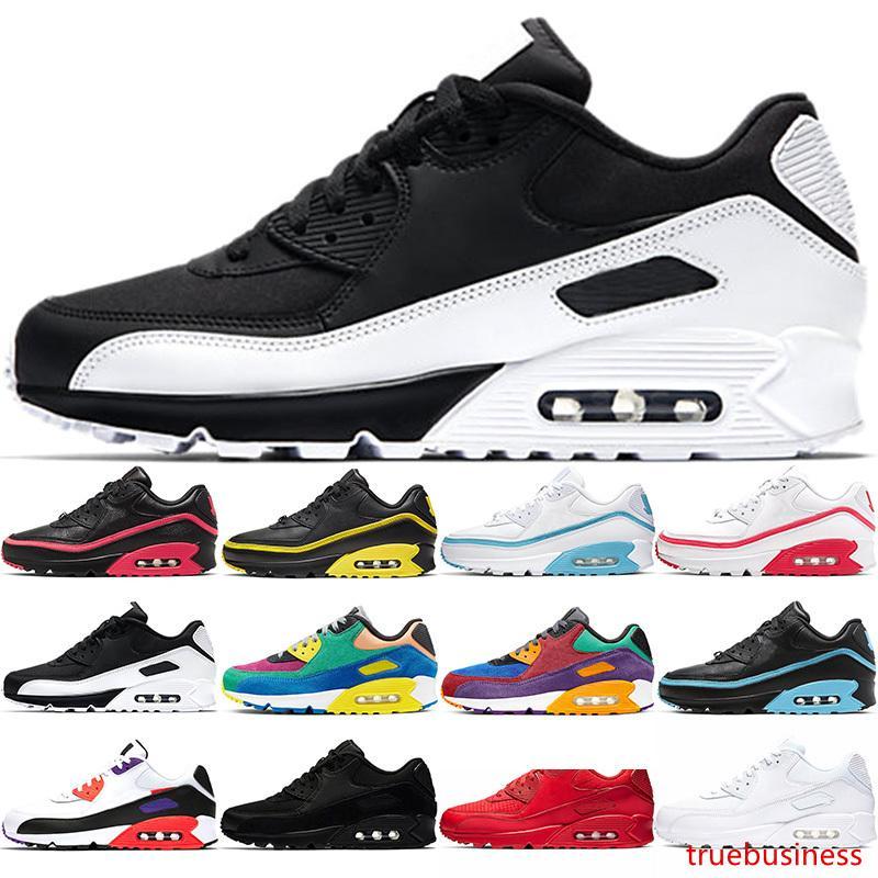 90 las zapatillas para hombre formadoras Mens Stock 90 INVICTO Triple Negro Blanco Rojo Tamaño Viotech Diseñador Trainer Sport zapatillas de deporte 36-45