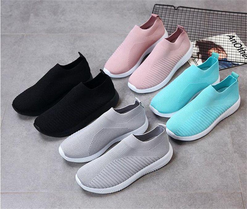 Plus Size 43 respirável malha Plataforma Sneakers feminino mocassim macia Senhoras corrida Casual Sapatos Mulher Knit Sock Sapatos Flats