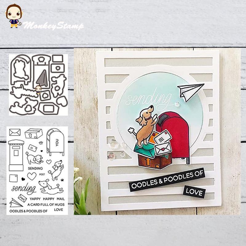 Troqueles de corte MonkeyStamp Buzón de metal perro y Sellos para bricolaje álbum de recortes álbum de fotos decorativo en relieve tarjetas de papel de bricolaje