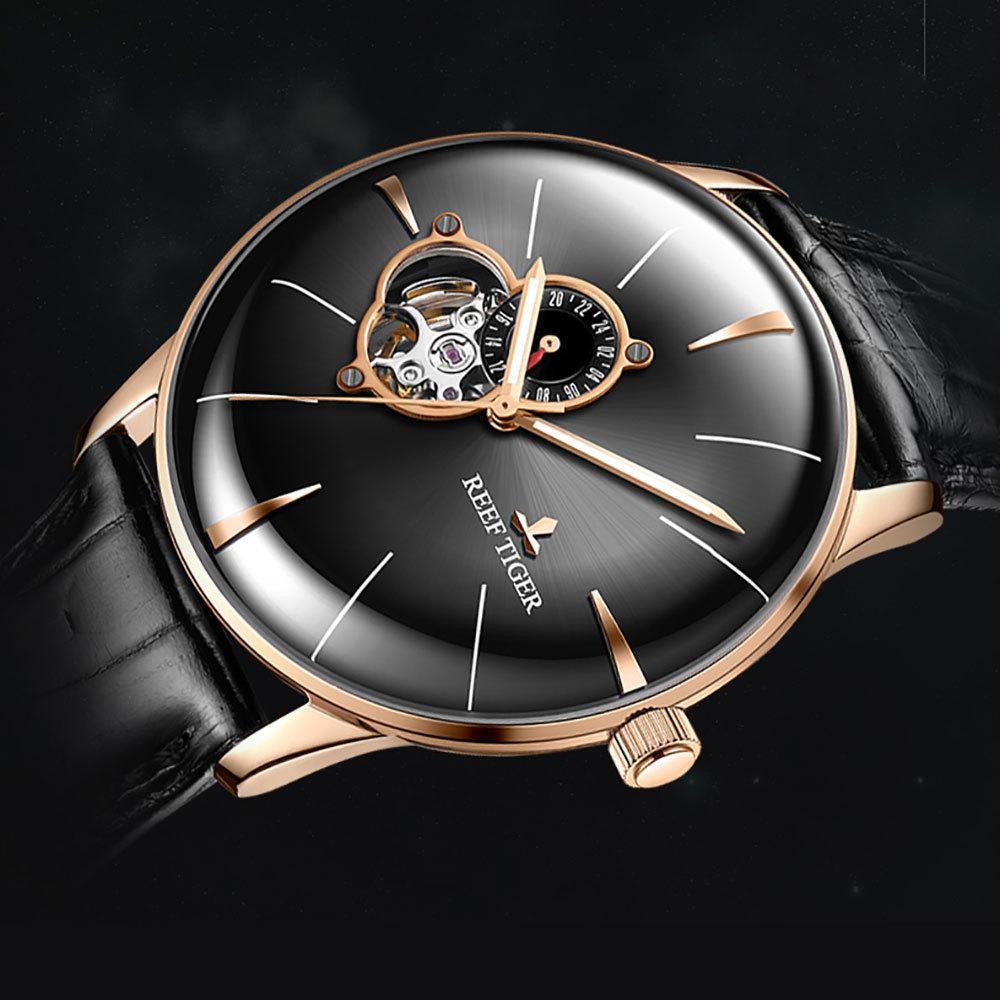 2018 Reef Tiger Mens Vestido Top Marca de luxo relógio automático couro genuíno cinta Rose Gold Analog Relógios Rga8239 C19041101