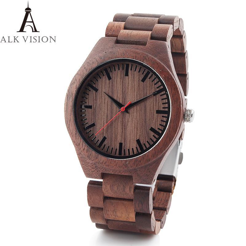 Мужчины Walnut Деревянные часы мужской случайные кварцевые наручные часы Полный натуральное дерево часы Мужской часы Мужская мода браслет наручные часы