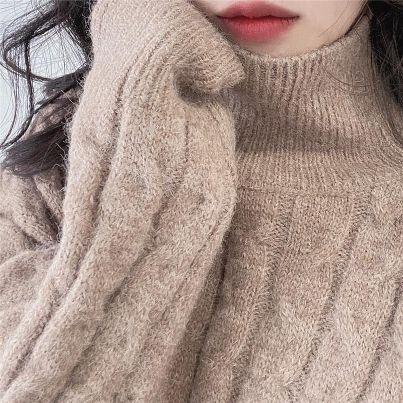 fur-Blend Mohair Sweater Autumn and Winter Loose Casual Turtleneck Long Sleeve Knit Pullver Toos Female NS1756