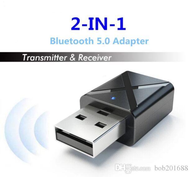 KN320 BT 5.0 Mini USB Adattatore per ricevitore audio con trasmettitore wireless con stereo AUX da 3,5 mm per TV PC Car