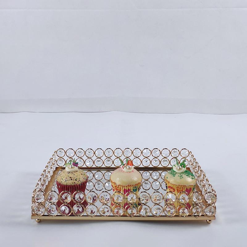 은이나 금 1PCS 평방 lagre 거울 먹고 스탠드 크리스탈 금속 창조적 인 큰 과일 플레이트 과일 바구니 홈 세트 케이크 도구