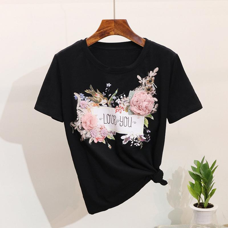 Women T-shirts 3D Embroidery Bead t shirt Tops O Neck Short Sleeve Appliques Flower Ladies Tshirts Spring Summer Female Clothes CX200603