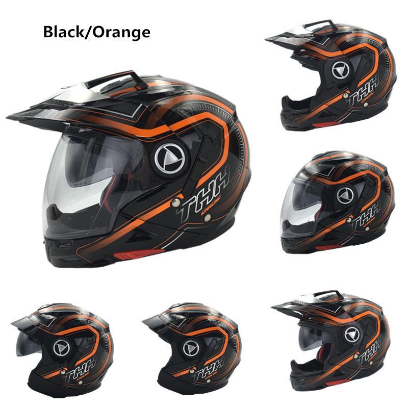 THH TS45 Muti-function motocross helmet Dual lens motorcycle helmets For Orange full face half face open helmet