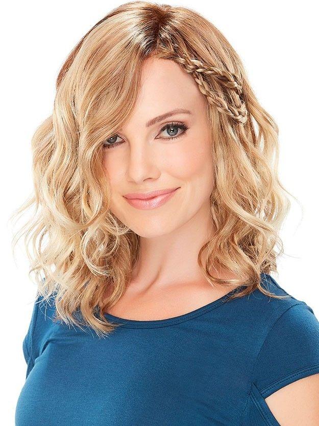 Sarışın karışık dalgalı saç peruk ile yan parçalı Isıya dayanıklı fiber kadınlar için sentetik peruk kapaksız moda peruk