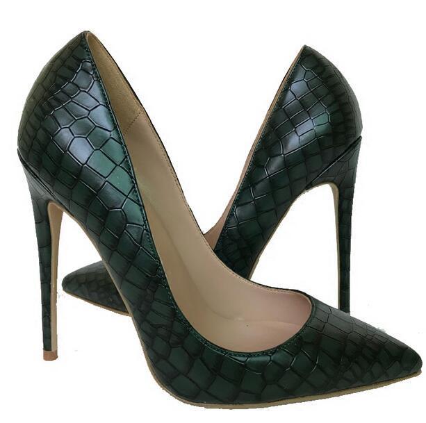Heißer Verkauf- New Designer Dark Green Schuhe mit hohen Absätzen der Frauen pumpt reizvolle Steinmuster spitzen Zehen 12cm 10cm 8cm High-heeled Kleid-Partei-Schuhe