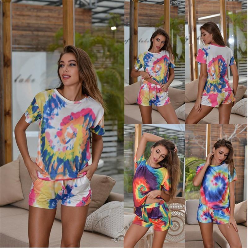 2020 Летний женщин Спорт Два Бюстье Повседневный Сыпучие Tie Dye Printed Футболки и шорты Брюки Одежда Наборы