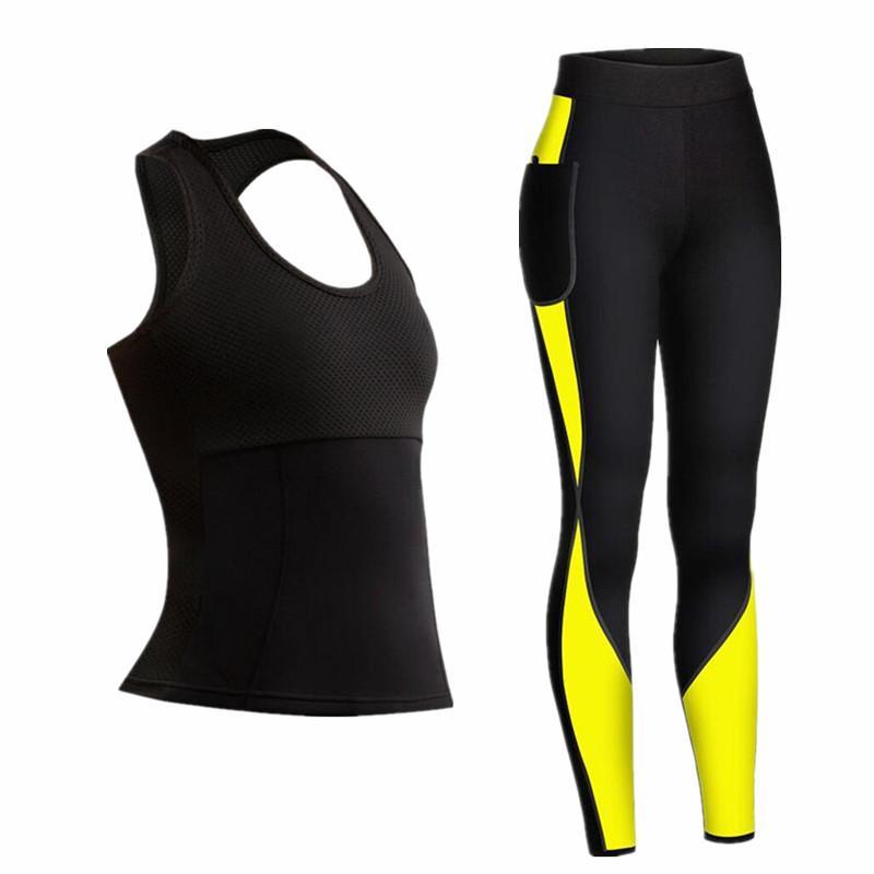 Women Vital Seamless Yoga Set Fitness Clothing Sportswear Woman Gym Leggings sauna effect legging tank tops + pants Sports Suits