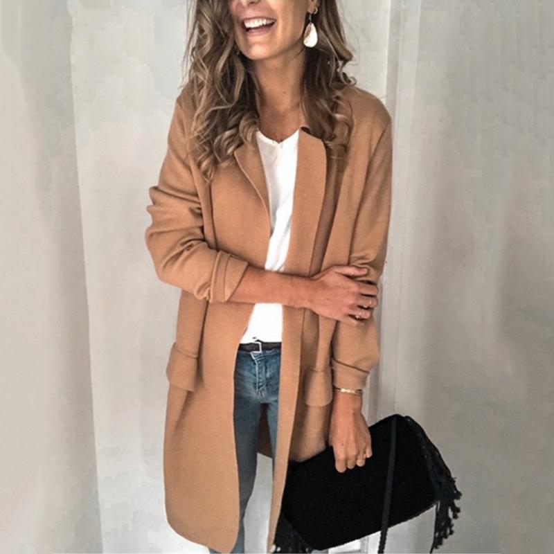 Женщины женские пальто 2021 весенний свободный сплошной цвет женщин тонкий стиль Femme ветрозащитные карманы тонкие улицы плюс размер