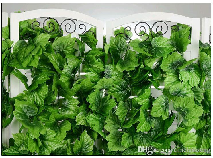 2.4m Quatro estilo artificiais videiras verdes grandes folhas de enrolamento videira Green Leaf Ivy flor Rattan para Home Decor Bar Restaurante Detalhes