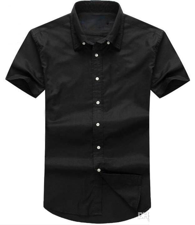 Estate 2019 Breve progettista degli uomini di Oxford maniche Stati Uniti d'America Marca RL camicia Solid sociale delle camice di vestito degli uomini di polo casuale camicie piccolo cavallo di moda