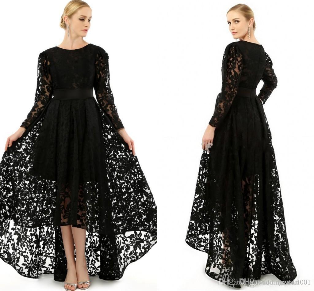 Elégant noir manches longues Taille Plus Robes ras du cou A-ligne officielle dentelle Salut-Lo Prom Party Robes de cocktail 2019 Robe Mère