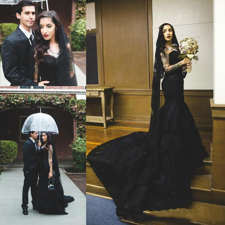 Sexy 2020 Robes de mariée noire de sirène avec dentelle perlée Appliques robes de mariée Vestido de Novia Court Train