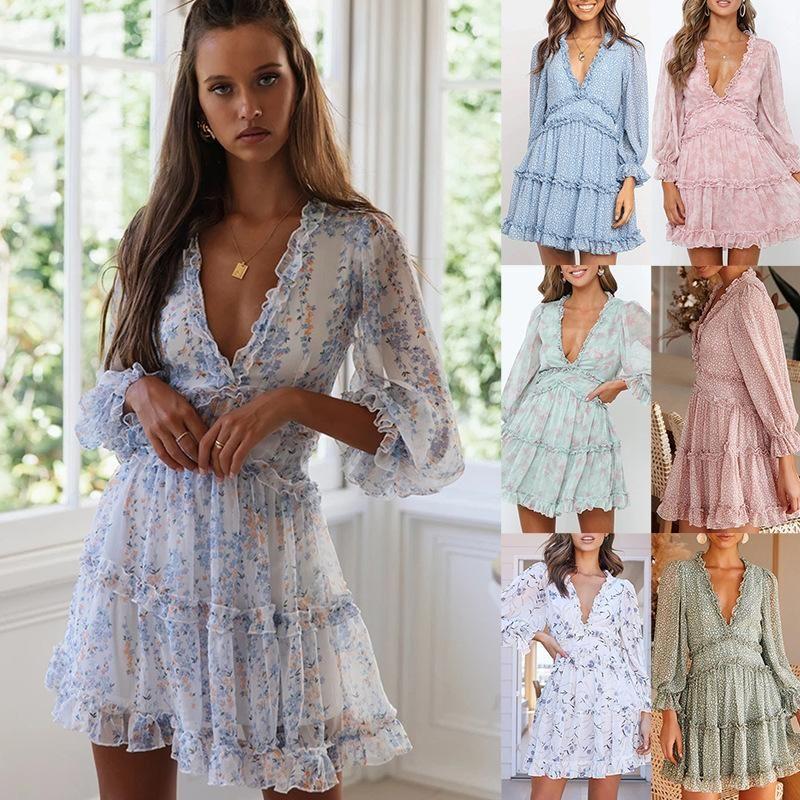 2020 Бренд Мода Роскошный Дизайнер Женщины Платья Плюс Размер Женская Одежда Женщина Одежда V Воротник Разбитые Цветы Торт Юбка Платье