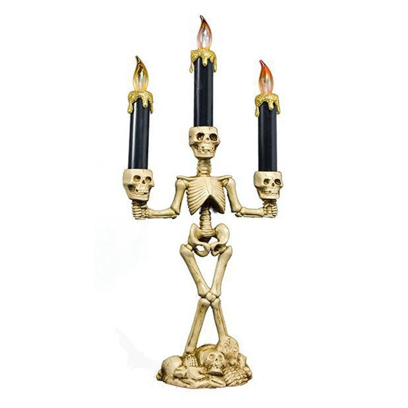 3-Arms LED Skeleton Candle Light Stand for Halloween Party Halloween LED Candelabra Horror Skull Party Bar KTV Lamp Home Decorat