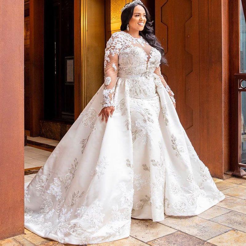 Fabulous Plus Size Mermaid Lace Wedding Dresses With Detachable Train Jewel Neck Beaded Long Sleeves Bridal Gowns Tulle Vestido De Novia