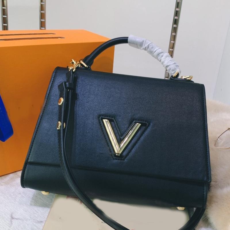Femmes sacs à main Lady sac à bandoulière Duffle Bag New Style Hot Vente de mode en cuir véritable amovible Bandoulière brillant surface V Métal