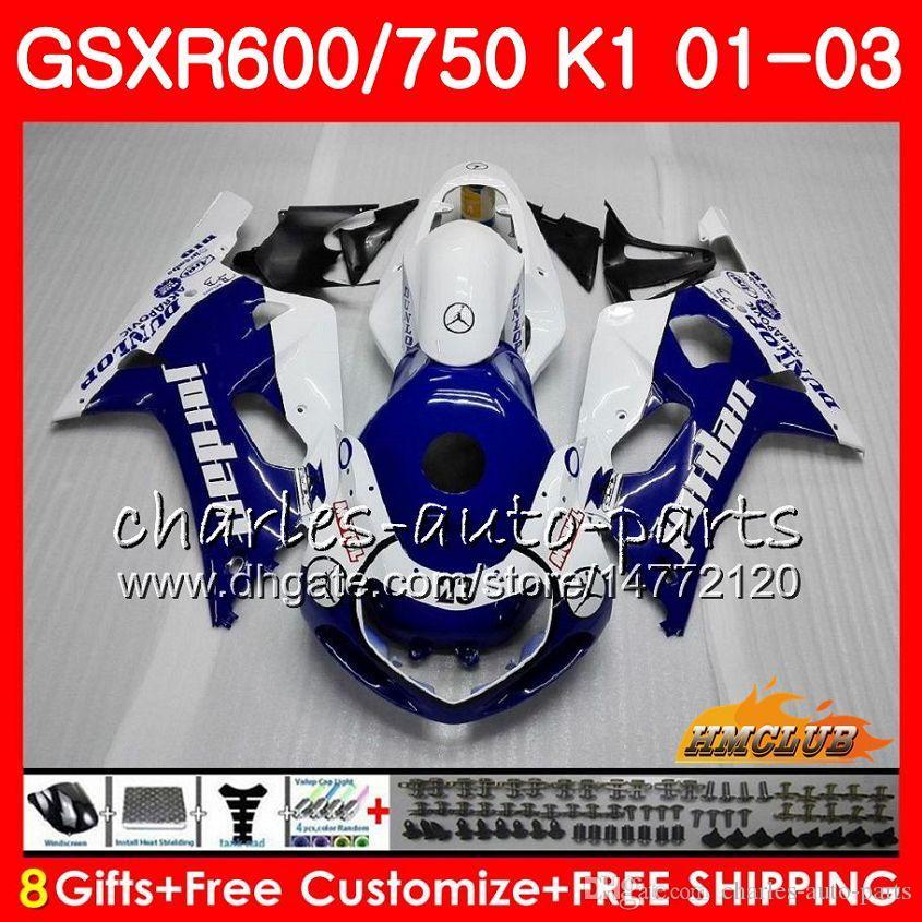 8Gifts Lichaam voor Suzuki GSX-R750 GSXR 600 750 GSXR600 01 02 03 Nieuwe Blue Stock 4HC.7 GSXR-600 K1 GSX R750 GSXR750 2001 2002 2003 FUNLING KIT