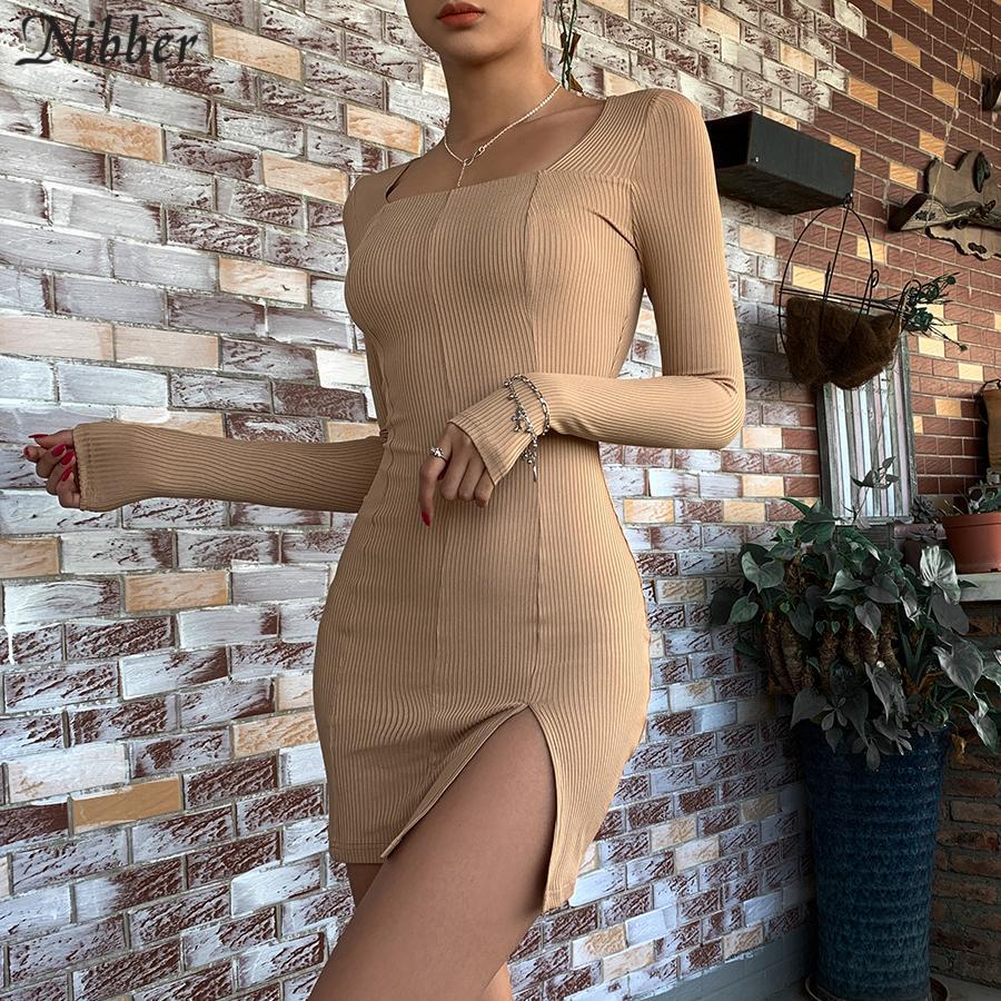 NIBBER seksi mini elbiseler kadınların uzun yüksek bel BODYCON elbise moda zarif stil İnce Yumuşak Rahat 2020 bahar yeni MX200319 kollu