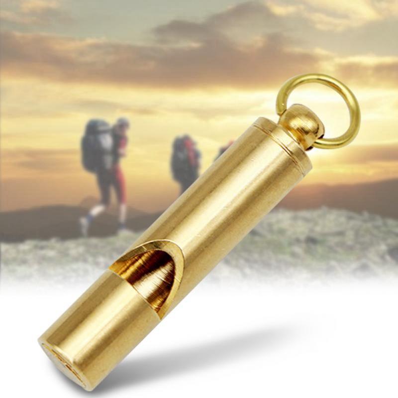 البقاء على قيد الحياة براس الصافرة المحمولة أدوات التخييم في الهواء الطلق المشي لمسافات طويلة بصوت عال الطوارئ الصافرة قلادة Kaychain الحسنات هدية HHA1099