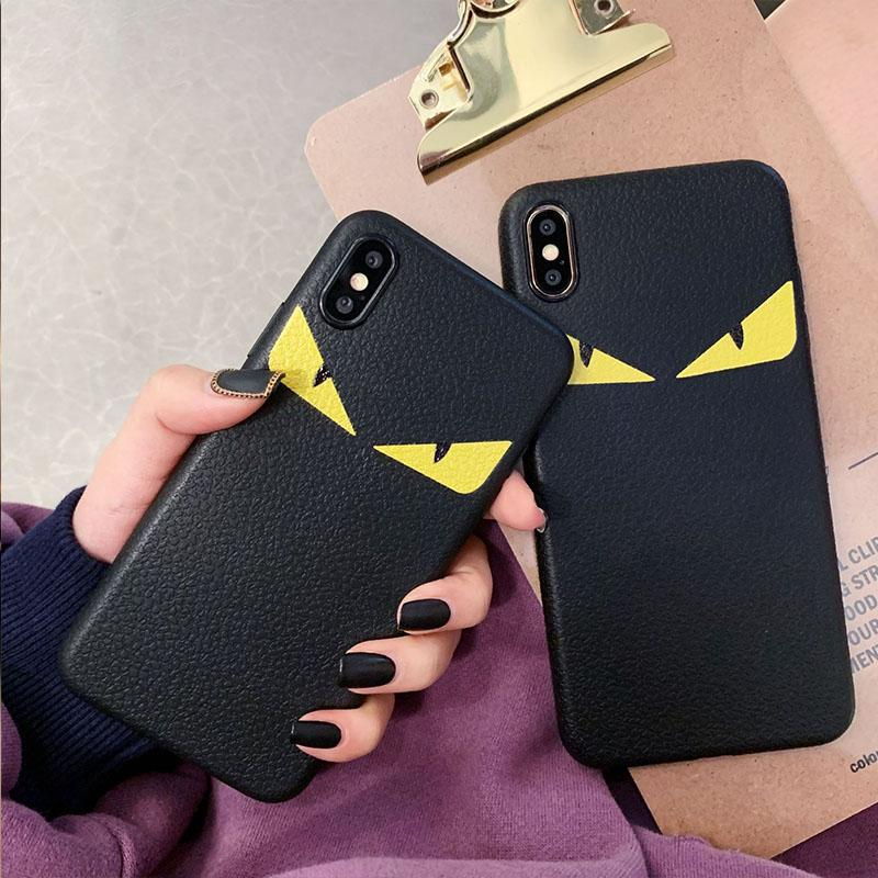 Luxury Leather Devil Eyes Cover Designer phone Case for iphone 11 Pro X XS Max Xr 6s Plus Fashion Brand soft Cover Funda