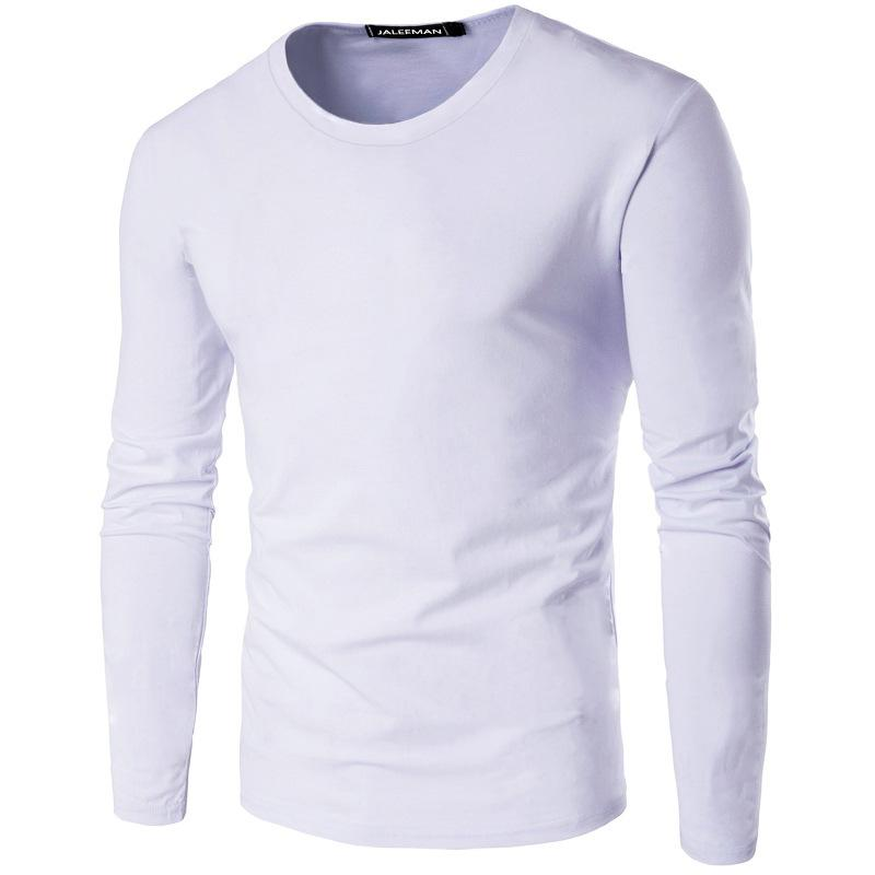 Fashion-mens 2019 luxury designer clothes new winter solid color mens long sleeved designer t shirts round neck Slim cotton T-shirt