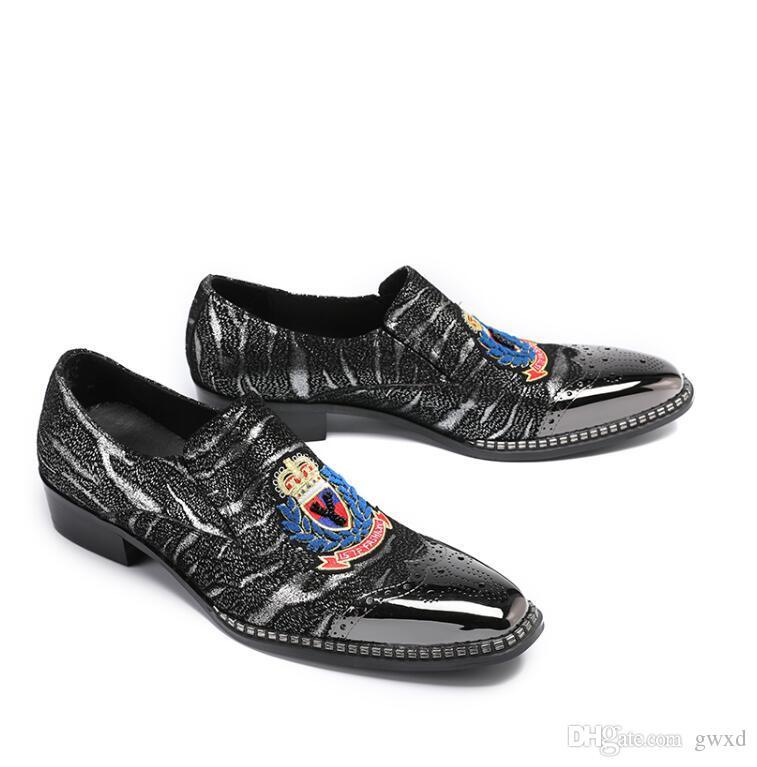 luxury Designer Rhinestone embroidery Wolf tiger bee owl platform Shoes Male Sheet metal Dress Pageant Footwear loafers W299