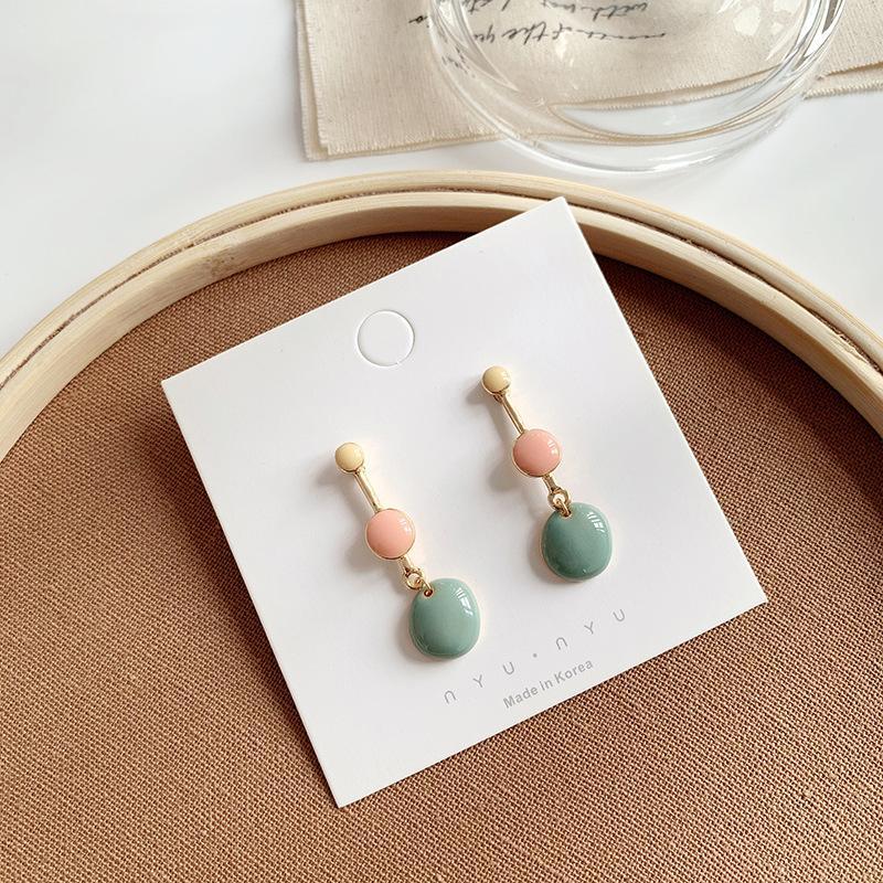 green blue irregular painting wind restoring ancient ways is gentle temperament geometric bump Drop earrings girl