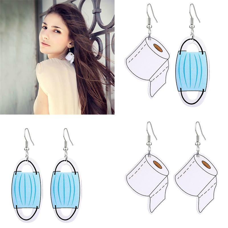 2020 PU Leather Mask Roll Paper Dangle Earrings Creative Toilet Paper Towels Pendant Earring Statement Funny Earring Gift for Women Girls