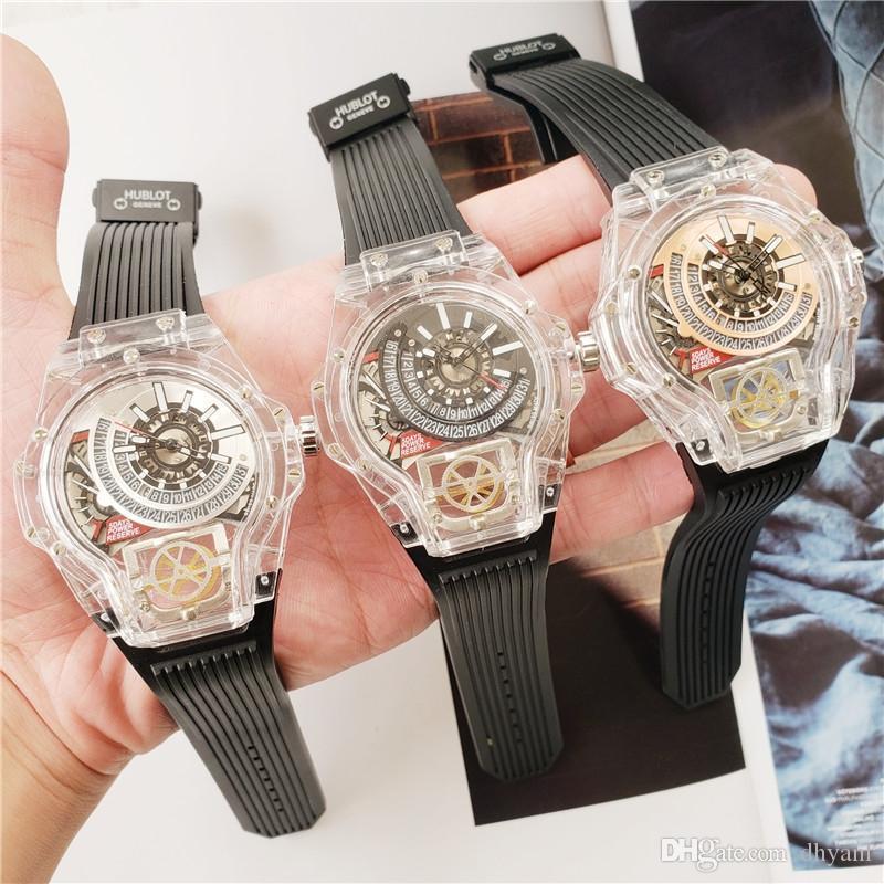 2020 heißen Verkauf 44mm Silikonband Fest Haken automatischer Tag-Datum-Uhr Männer Luxus-Sport-Uhr-Mann-Big Date Präsident Desinger Herrenuhr
