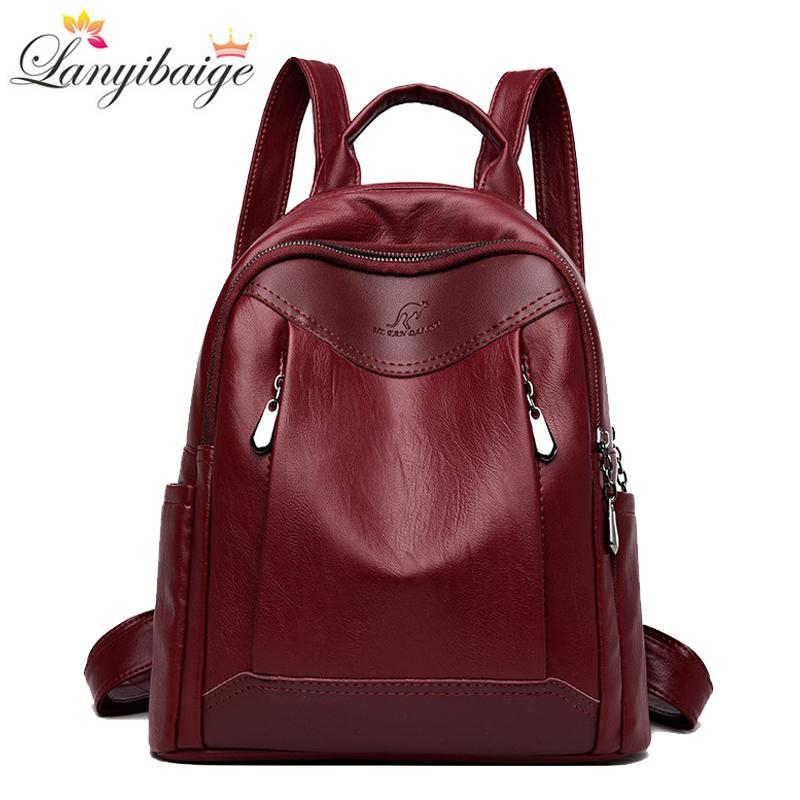 2019 Новых женщины рюкзака мода мешок школы для девочек большого леди путешествия рюкзак высокого качества кожи плечо сумка