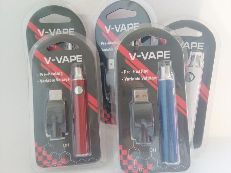 V-VAPE LO 예열 VV 배터리 키트 650mAh 가변 전압 배터리, 510 나사 두꺼운 오일 카트리지 용 USB 충전기 포함