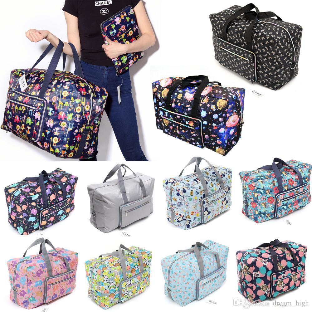 Dobrável curso da bagagem sacos reutilizáveis saco de armazenamento portáteis bolsas impermeáveis Bolsas 22 polegadas de grande capacidade saco com alça de ombro