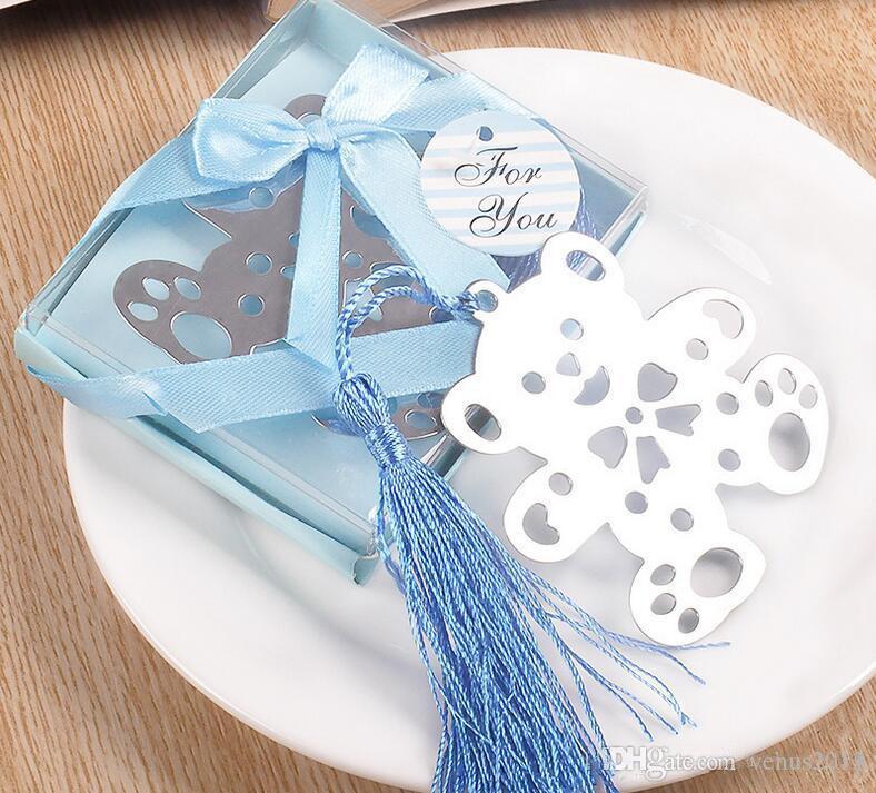새로운 크리 에이 티브 파티 부탁 곰 테디 북마크 - 베이비 샤워 christening 선물 파티 웨딩 부탁 (블루 또는 핑크)