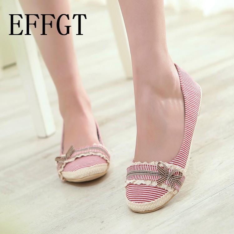 EFFGT femmes appartements mode occasionnels noeud papillon travail de bureau Sweet Women Cloth haute qualité nouvelle chaussures simples K133