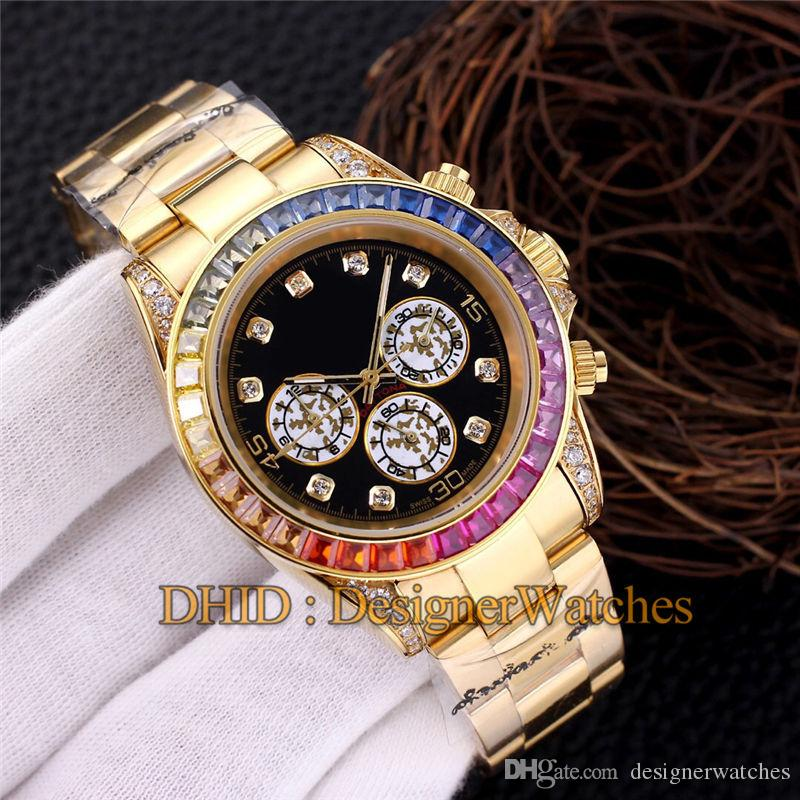 Luxusuhr Man Rainbow Diamond Bezel Mechanische Automatikuhr 18K 316L Edelstahl Gold Armbanduhren Kein Chronograph
