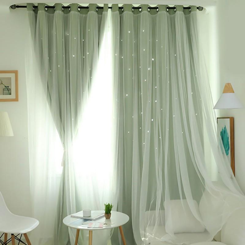 Tende doppie nordiche moderne in tulle oscuranti con nappine a stella tende oscuranti per tende da camera da letto drappeggiate tessili per la casa