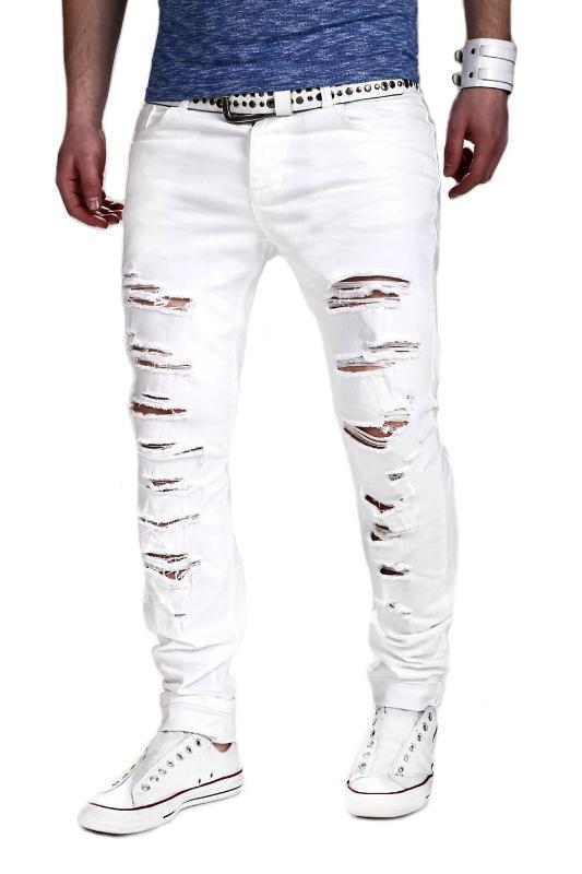 2017 uomini di pantaloni Hole Cut Pantaloni al ginocchio con cerniera piede Stretch Pantaloni jeans strappati Bianco Magro matita pantaloni jogging per il maschio