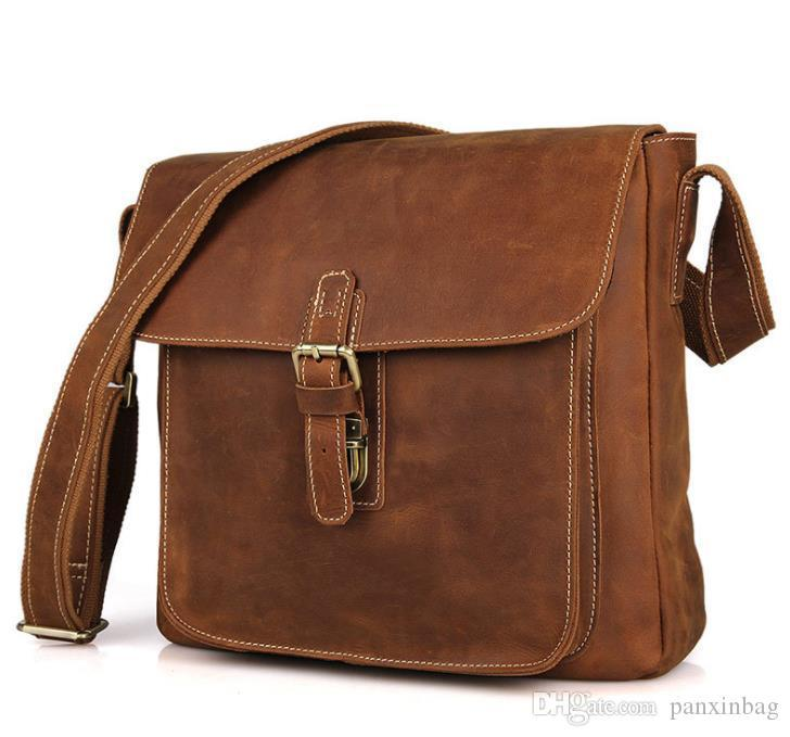 The manufacturer directly supplies the retro mad horse leather men's bags with the top dermis vertical buckle and oblique Bag