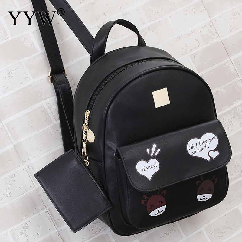 Cartton Pattern Black PU Leather Backpack Female Small Backpacks for Adolescent Girls Pink Mini Travel School Bag with Purse