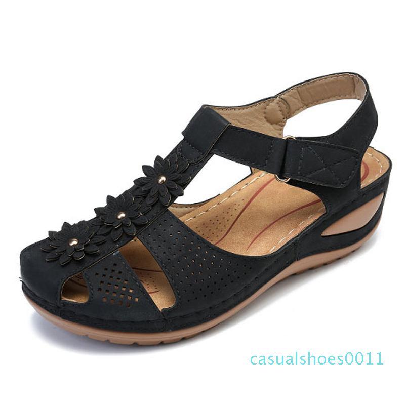 Cuña de las mujeres sandalias de gladiador zapatos de las mujeres del dedo del pie del pío de Bohemia del flip-flop con cierre de tiras casual deslizamiento al aire libre Senderismo en el zapato de mujer c11