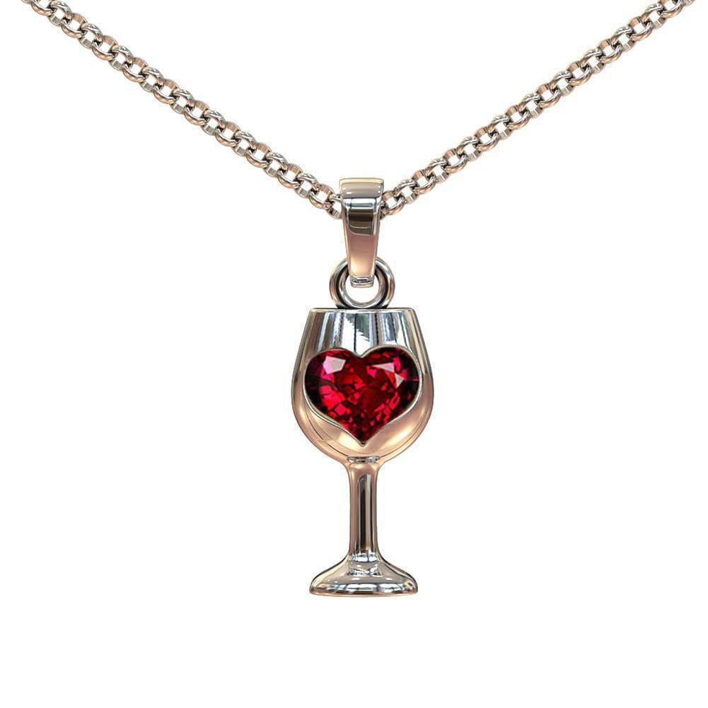 Imitación de las mujeres de la vendimia de la joyería joyería collar de cadena de amor del Corazón colgante de la copa de vino