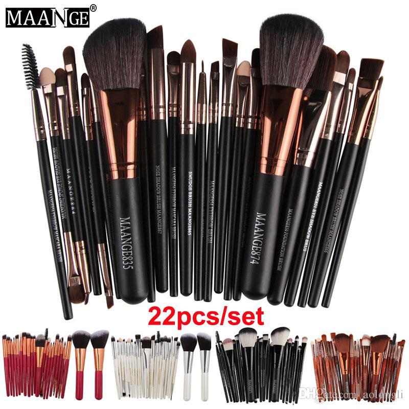 22 stücke Set Maange Professionelle Make-Up Pinsel Augenbrauen Lidschatten Make-Up Pinsel Set Powder Foundation Lips Augen Kosmetik pinsel Werkzeuge