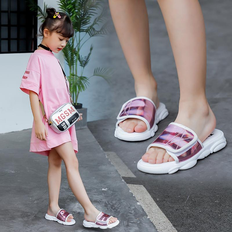 Girls Slippers 2020 Summer New Korean Kids Casual Wide Princess Laser Leather Non-slip Soft Rubber Shoes Outdoor Girls Sandals