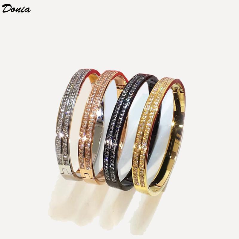 Bracciale classico Designer micro del braccialetto di apertura di lusso della moda intarsiato zirconia doppia fila gioielli Donia in Europa e in America