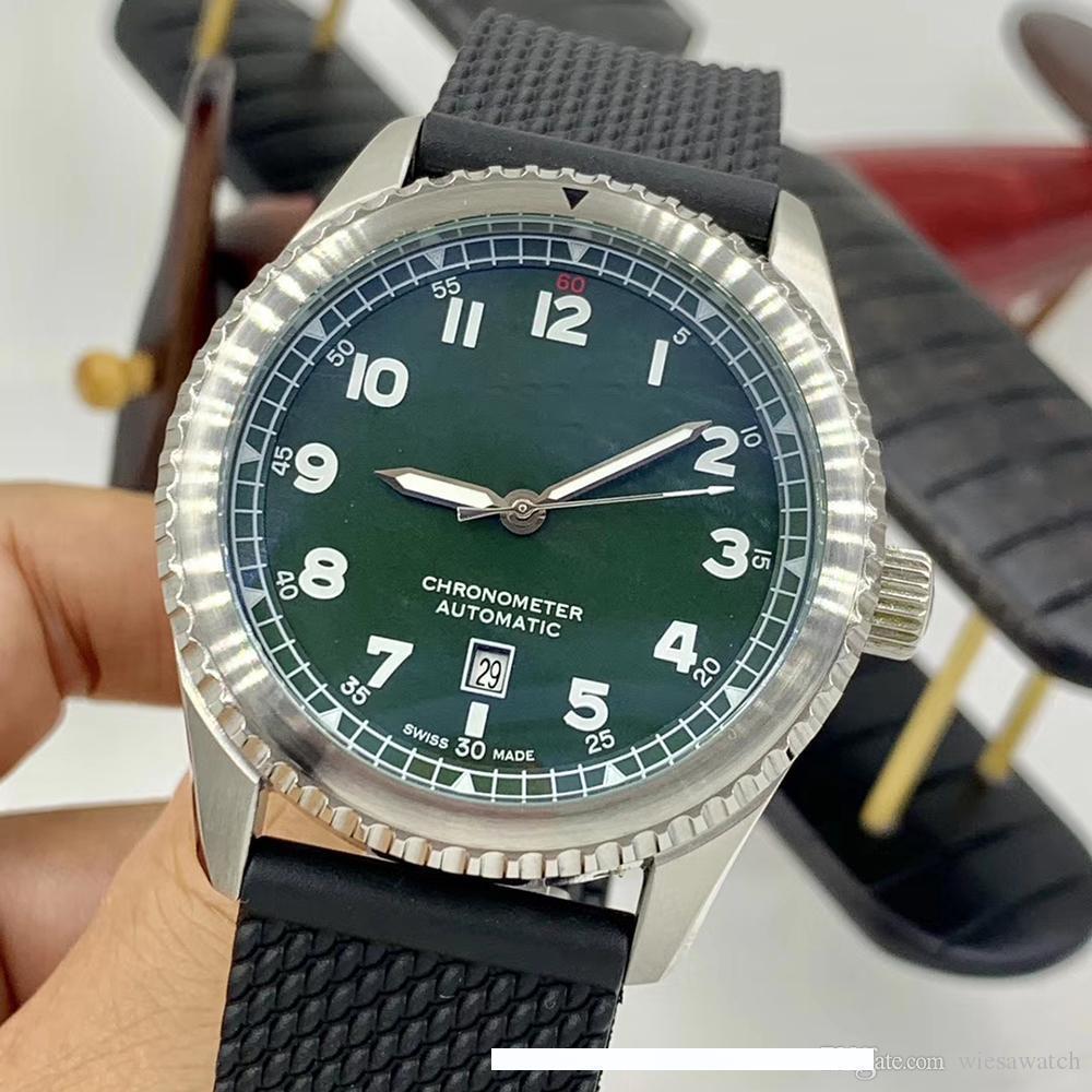 럭셔리 망 시계 자동 기계 빛나는 녹색 다이얼 시계 블랙 고무 밴드 손목 시계 중국에서 만든