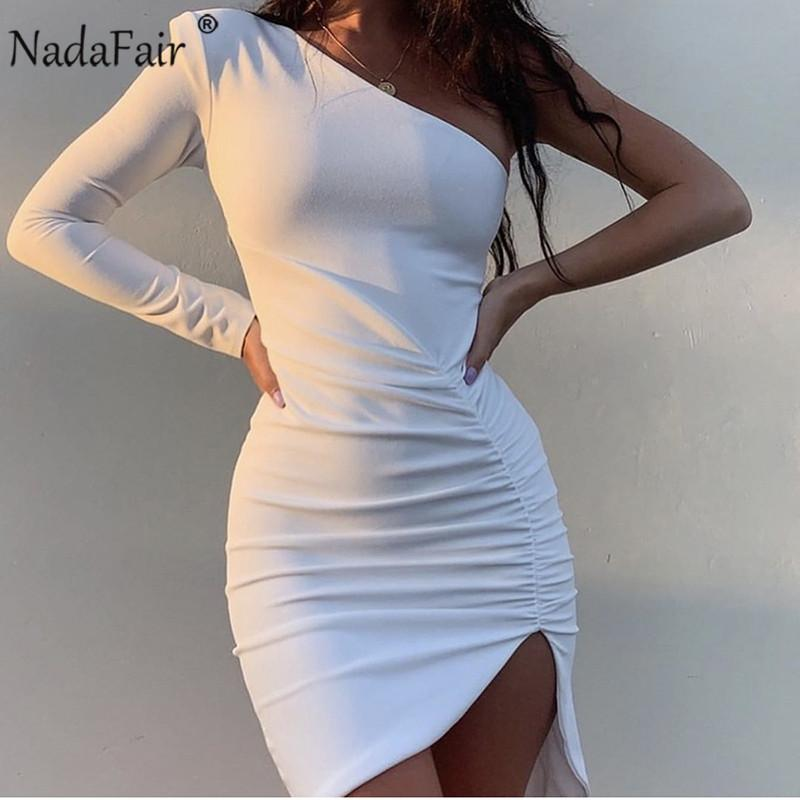 Повседневные платья Nadafair One Pheck Clubwear Party Sexy Bodycon платье женщины драпированные с длинным рукавом мини черный белый розовый осень зима