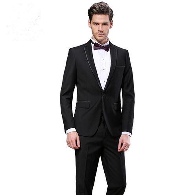 Siyah Erkekler Düğün Damat Smokin Suits 2019 Yeni Slim Fit Damat 2 Parça Suits (Ceket + Pantolon) İyi Adam Blazer